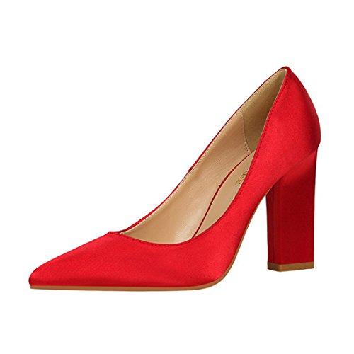 HBOS Damen Pumps Mode Einfach Grob Heel High Heel Flache Spitze Sexy Night Shop Zeigen Dünne Satinschuhe Heels Rot