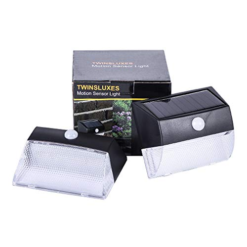 Solar Motion Sensor Light - Twinsluxes LED Transparent Solar Lights Outdoor with Omni-Directional Lighting, Solar Security Lights for Garden, Yard, etc.