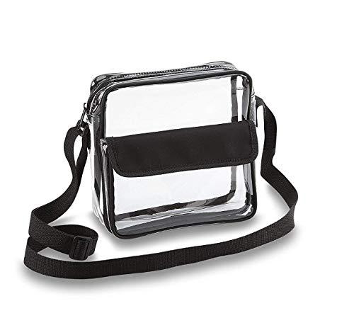 Clear Crossbody Messenger Shoulder Bag with Adjustable Strap NFL Stadium Approved Transparent Purse (Black) (Plastic Handbags And Purses)