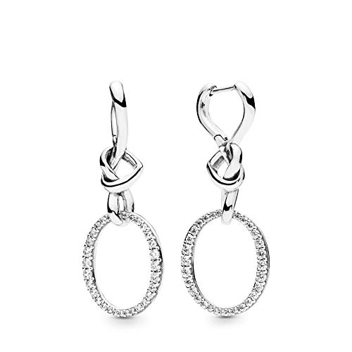 (PANDORA Knotted Hearts 925 Sterling Silver Dangles Earrings - 298110CZ)