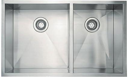 Schon SC3320 Double Bowl Zero Radius Kitchen Sink, Stainless Steel ...