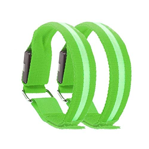 LED Sports Armband Flashing Safety Light for Running, Cycling or Walking At Night Set of 2 (Green, Medium - up to 13 inch circumference)
