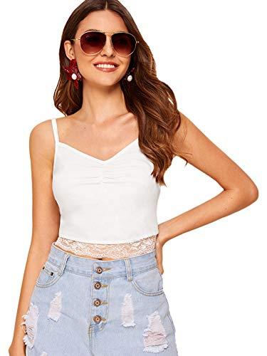 SheIn Women's Summer V Neck Strappy Sleeveless Camisole Lace Crop Cami Tank Tops Medium White