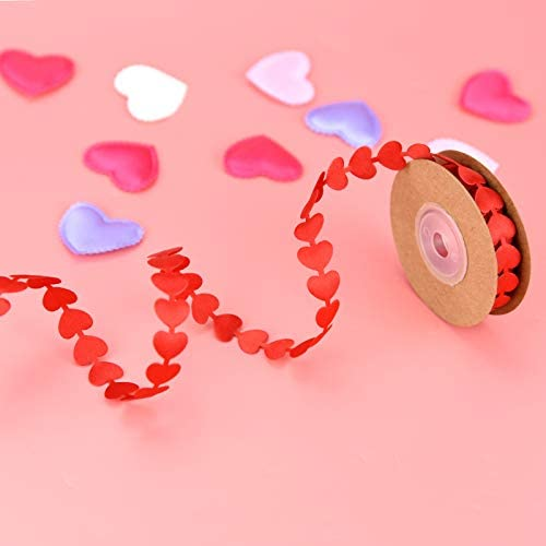6 Pieces Valentine's Day Ribbons Printed Heart Satin Ribbons for Gift Wrapping DIY Supplies Birthday Party Decoration