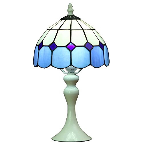 - Bieye L10469 8 inch Mediterranean Tiffany Style Stained Glass Table Lamp with Blue Shade, 15 inch Tall