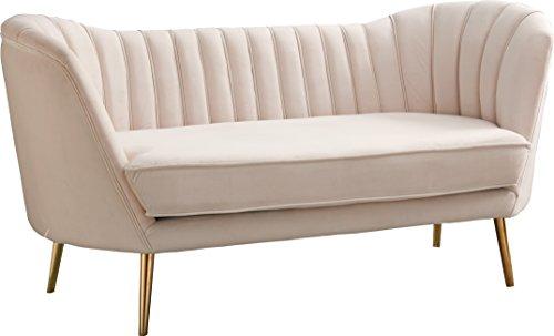 Meridian Furniture 622Cream-L Margo Velvet Loveseat Cream