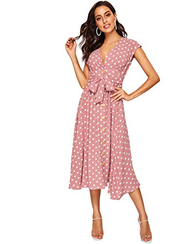 (Romwe Women's Polka Dot V Neck Short Sleeve Bow Belted Button Dwon A Line Dress Pink Small)