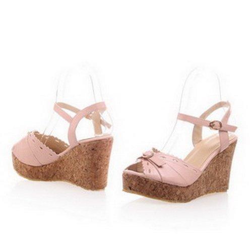 Amoonyfashion Para Mujer Peep Toe Cuña De Tacón Alto Pu Material Suave Sandalias Sólidas Con Moños Rosa