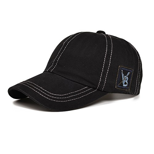VOBOOM Outdoor Baseball Caps for Men Women Plaid Adjustable Sport Snapback Hip Hop Hats BQ019 (Black)