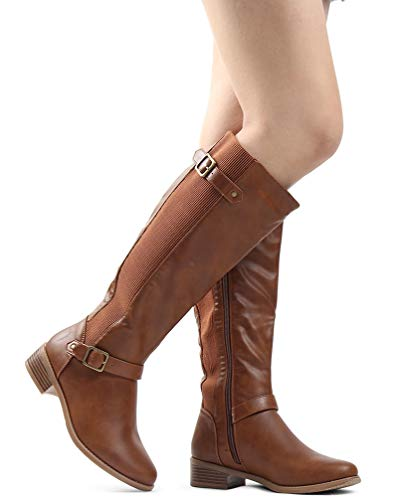 Handmade Boots Leather (LUSTHAVE Women's Megan Buckle Strechy Knee High Riding Boots Tan 7.5)