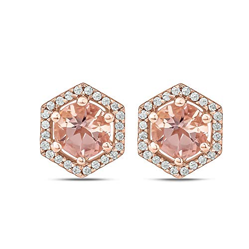 (Jewel Monk 10K Rose Gold 1 Carat Round-Cut (I-J Color, I2-I3 Clarity) Natural Diamond Earrings for Women)