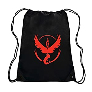 Amazon.com: Pokemergency Team Valor Gym Drawstring Bag, Black/Red ...