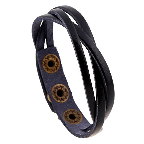 Sinfu Trend Multi-Layer Leather Wrap Braided Button Wristband Cuff Punk Men Women Bracelet Bangle (Black)
