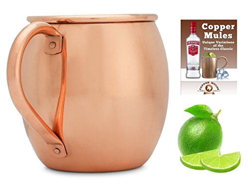 Copper Mules-Copper Moscow Mule Mug (16 oz) Handcrafted - Riveted Handle - Bonus Ebook by Copper Mules