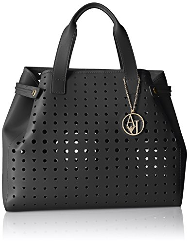 Armani Jeans Perforated Eco Leather East West Tote, Black 1