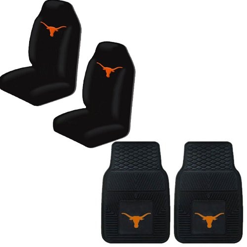 A set of 3 Piece Automotive Gift Set: 2 Front All Weather Floor Mats and 2 Front Seat Covers - Texas Longhorns by MULTI_B (Image #3)