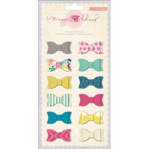 Dress Up Embellishments - Crate Paper Maggie Holmes Scrapbooking Embellishment, Bows