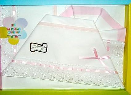 Lenzuola Carrozzina Da Ricamare.Set 3 Pz Lenzuolini Per Neonati Carrozzina Con Tela Aida Da Ricamare Rosa