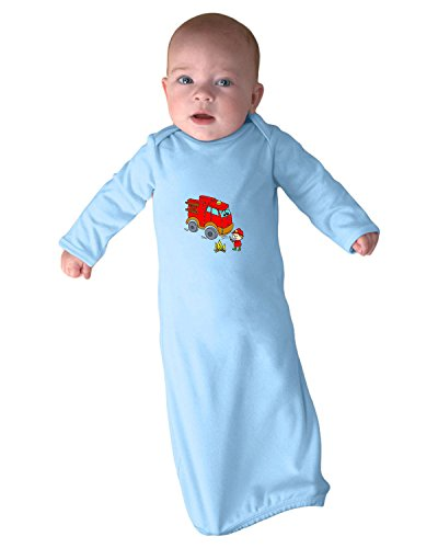 Red Fire Truck Cute Smiling Firefighter Infant Baby Rib Layette Sleeping Gown Only Light Blue ()