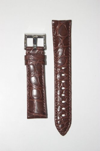 22mm Matte Brown Genuine Crocodile Watchband with Heavy S/S Buckle