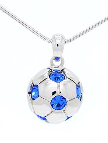 Chain Players Light Pendant (SOCCER BALL NECKLACE - CRYSTAL SOCCER BALL NECKLACE - LIGHT BLUE)