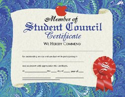 HAYES SCHOOL PUBLISHING H-VA530 CERTIFICATES STUDENT COUNCIL 36 PACK 8.5 X -