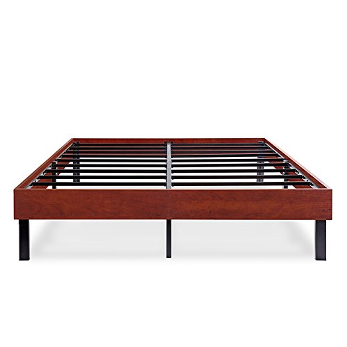 Olee Sleep VC14WF02F-2 14 Inch Wood Platform Steel Slat Support,Classic Brown,Full Size Bed Frame, Cherry, Black