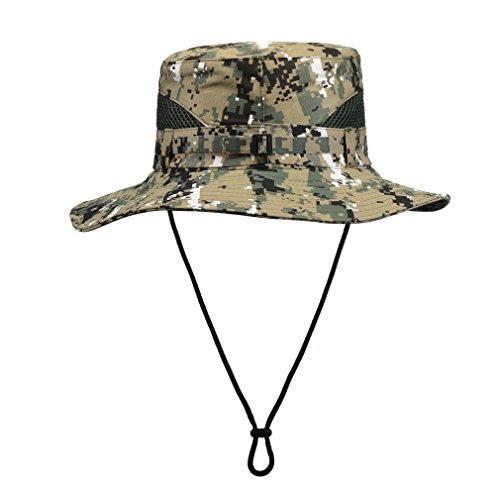 Bucket Hat Camo With String For Mens Fishing Boonie Hats Uv