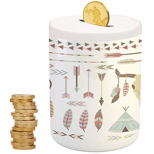 Native American,Ceramic Baby Bank,Printed Ceramic Coin Bank Money Box for Cash Saving,Tribal Indian Elements Dreamcatcher Mountain Goat Feather Arrow Ethnic Indie Art (Element Arrow)