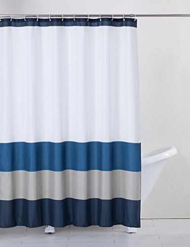 Rama Rose Shower Curtain Stripe with Hooks for Bathroom, Treated to Resist Deterioration by Mildew  70X72 inches, Navy/Blue/Grey/White color