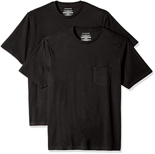 Amazon Essentials Men's 2-Pack Loose-fit Crew Pocket T-Shirt, Black, Medium 100 Cotton Essential T-shirt
