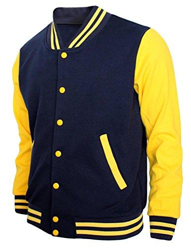 (BCPOLO Baseball Jacket Varsity Baseball Cotton Jacket Letterman Jacket 8 Colors-N-Y L Navy-Yellow)