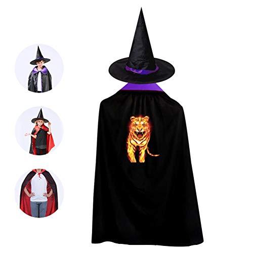 Kids Fire Tiger Halloween Costume Cloak for Children