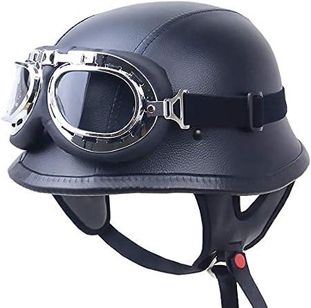 Retro casco de montar a caballo al aire libre casco de cuero de la motocicleta casco de montar Locomotora Medio casco casco de seguridad Negro NBHUYT
