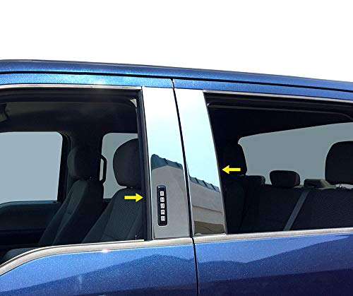 (Made in USA! Works with 2015-2019 Ford F150 Super Cab/SuperCrew Cab W/Keypad 4PC Stainless Steel Chrome Pillar Post Trim Cover Kit )