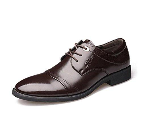 GRRONG Zapatos De Cuero De Los Hombres Vestido Formal Ocio Cuero Auténtico Negro Marrón Brown