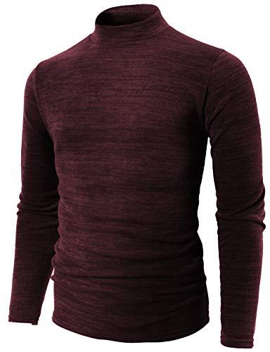 H2H Mens Casual Slim Fit Half-Neck Lightweight Sweater Wine US S/Asia L ()
