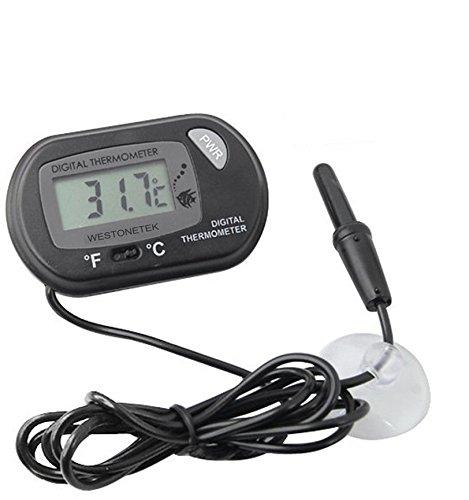 Termómetro Digital LCD con ventosa para sonda Cable Pez Depósito Agua Acuario Supply, color negro: Amazon.es: Electrónica