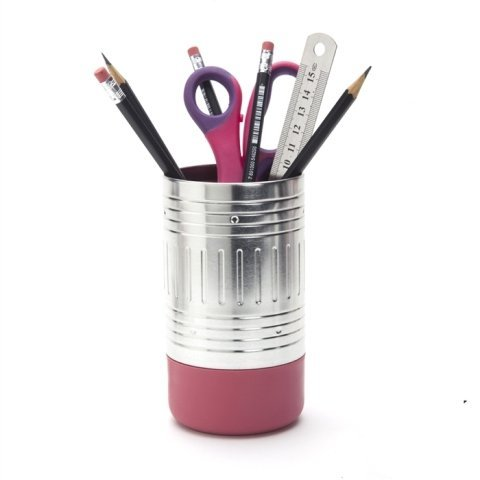 Pink Tin (AD243 - Pencil End Cup - Pink tin and plastic office essentials holder)