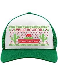 84e70e01e1a695 Feliz Navidad Mexican Ugly Christmas Cap Funny Xmas Party Trucker Hat Mesh  Cap