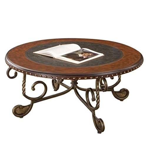 Cheap Steve Silver Rosemont Scrolled Base Cocktail Table w Black Inlaid Top
