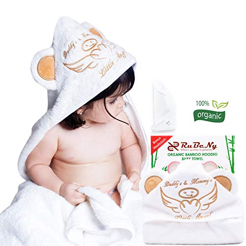 Embroidered Hooded Towel - Organic Bamboo Hooded Baby Towel Wrap and Washcloth Set By Rubeny | Super Absorbent and Hypoallergenic | Fits Babies and Toddlers | Perfect for Baby Shower | Registry