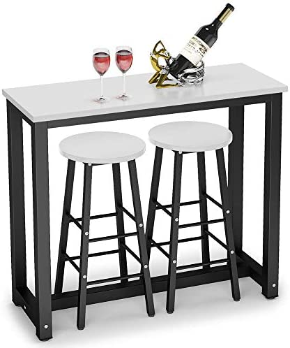 Tribesigns 3-Piece Pub Table Set, Counter Height Breakfast Bar Dining Table Set with 2 Bar Stools for Kitchen, Dining Room, Living Room, Small Space White