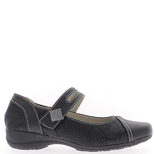 Chaussures femme confort noires à talon compensé de 4cm