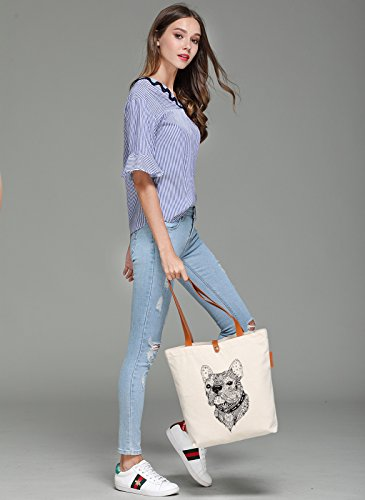 So'each Women's Dog Geometry Graphic Top Handle Canvas Tote Shoulder Bag