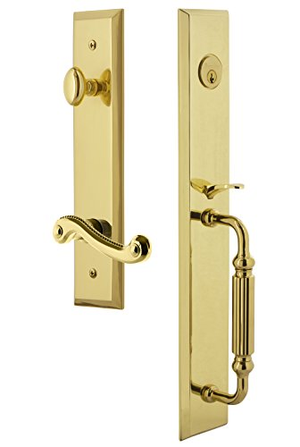 Grandeur 847861 Hardware Fifth Avenue One-Piece Handleset with F Grip and Newport Lever Size, Single Cylinder Lock-2.375