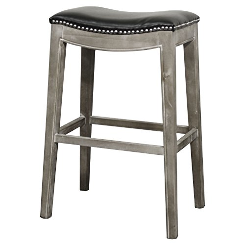 (New Pacific Direct Elmo Bonded Leather Bar Stool,Distressed Gray Legs,Black)