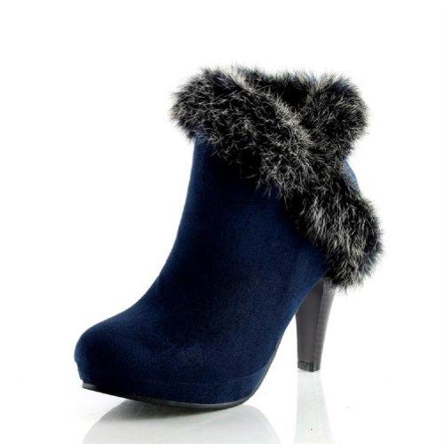 Bedel Voet Mode Dames Platform Hoge Hak Enkellaarzen Westernlaarzen Blauw