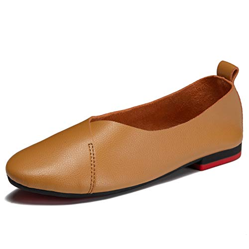 (Ruiatoo Women's Comfort Flat Genuine Leather Moccasins Ballet Flat Casual Loafers Camel 37)