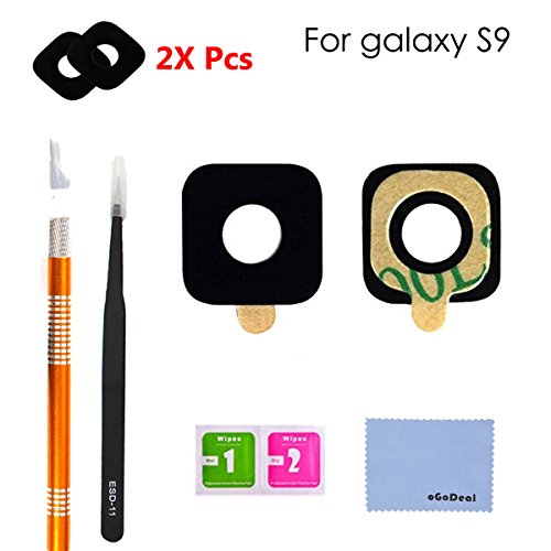 oGoDeal 2 Pack Back Rear Camera Glass Lens Cover Replacement for Samsung Galaxy S9 With Tool Kit and Adhesive Preinstalled